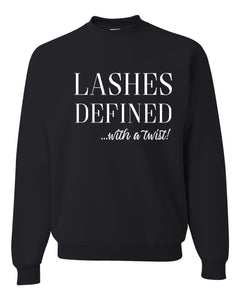 lashes defined...with a twist!, basic crew sweatshirt, jerzees/gildan brand, crew sweatshirt, lashes, graphic design, makeup, mascara, black with white print