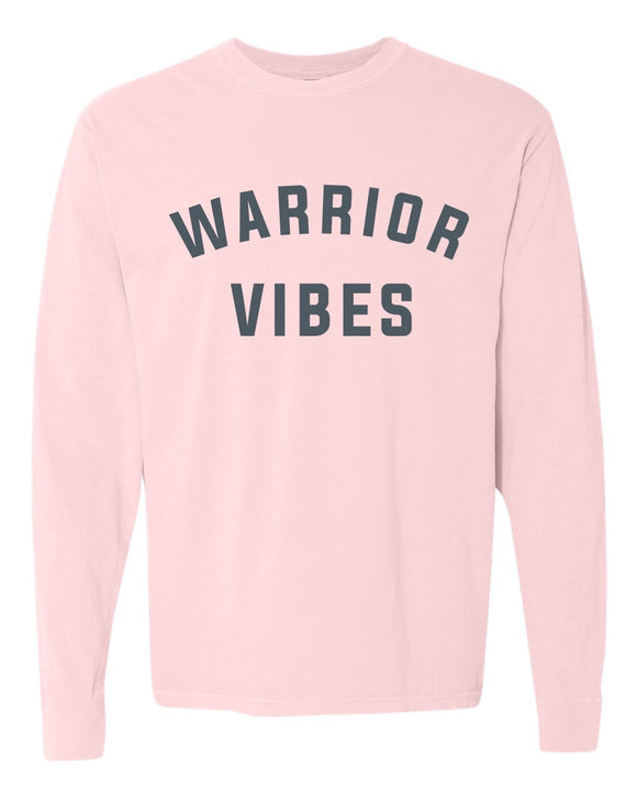 garment washed, COMFORT COLORS, Long Sleeve, Tunic, graphic design, mom, pink, grey print, soft, warrior vibe
