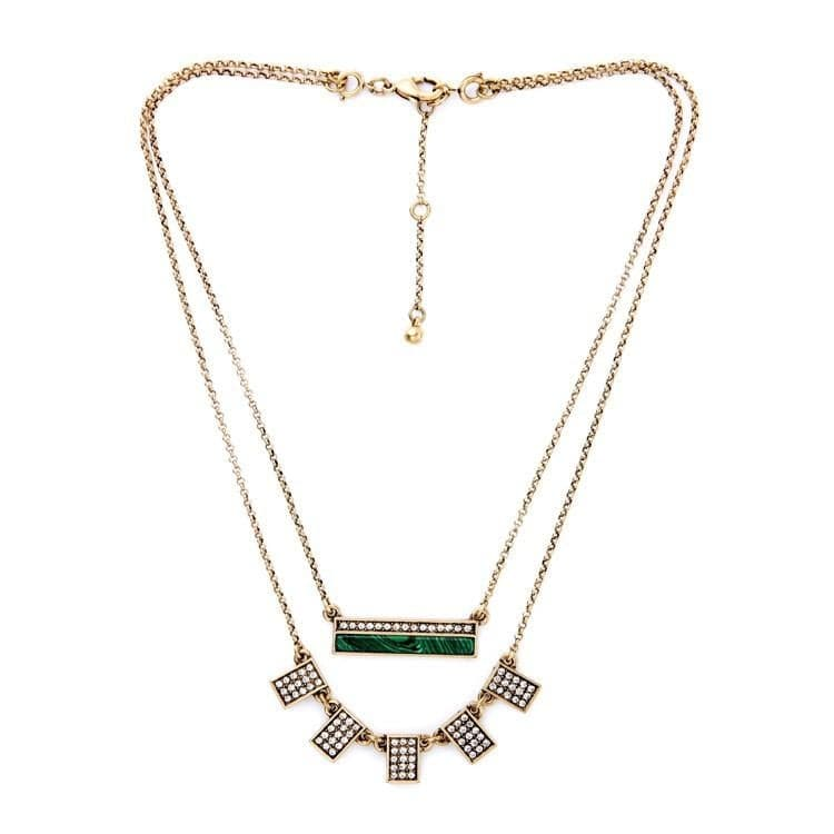 Lizzie Layered Malachite Necklace, Necklaces - Kevia Style, LLC