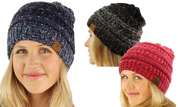 Women's Confetti Cable Knit CC Beanie,  - Kevia Style, LLC