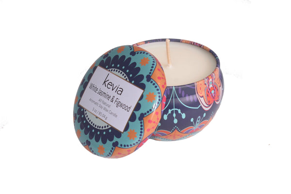 White Jasmine & Figwood Travel Candle, HOME - Kevia Style, LLC