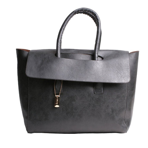 Gray Fold Over Handbag