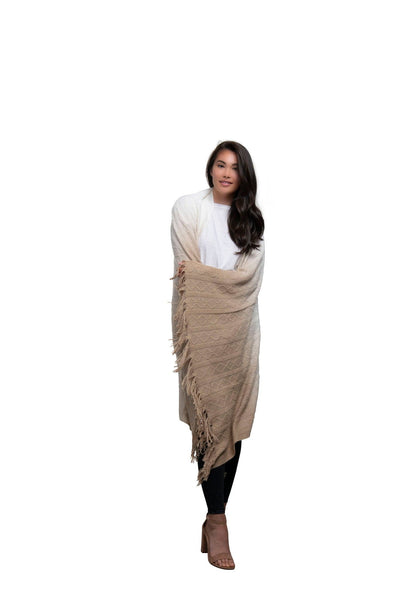 Cable Knit Ombre Scarf Blanket-Beige
