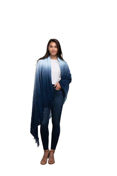 Cable Knit Ombre Scarf Blanket-Navy
