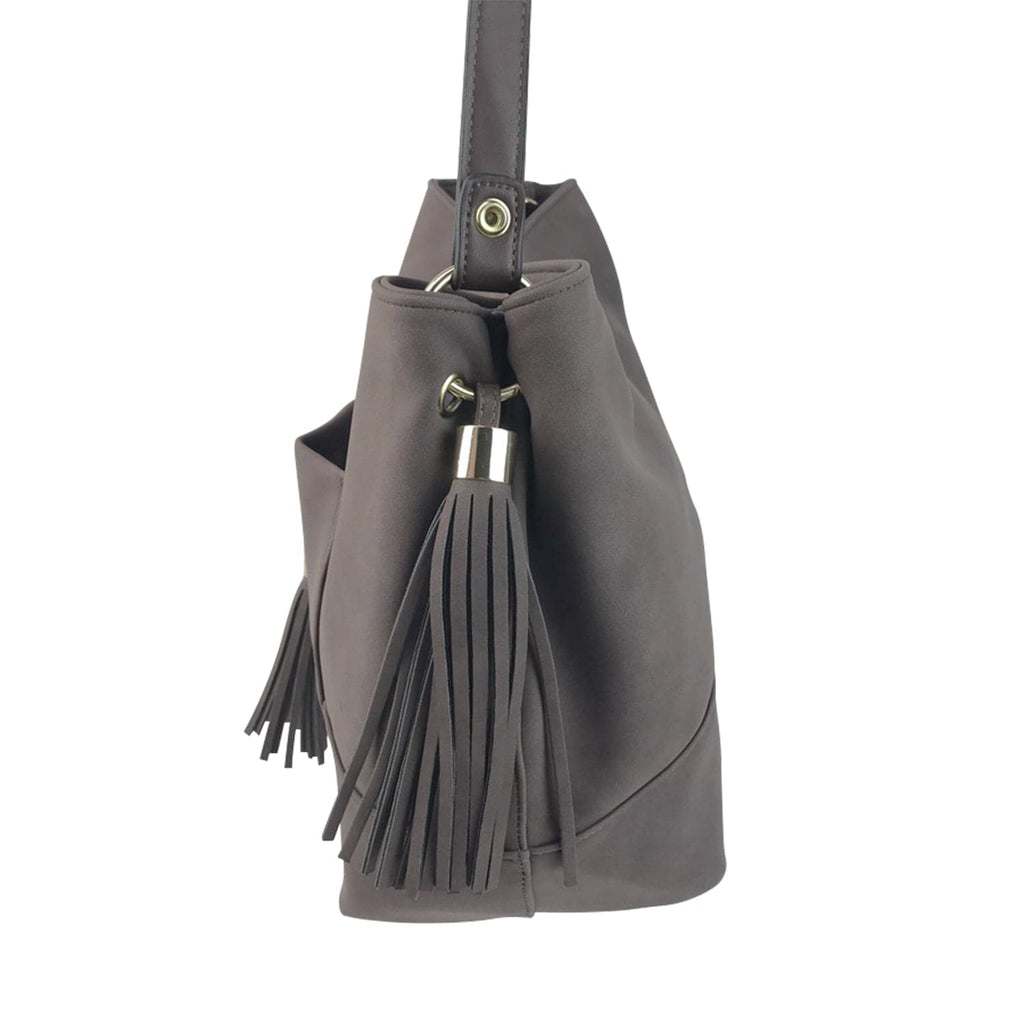 Brown Slouchy Purse with Tassels, Handbag, purse, backpack - Kevia Style, LLC