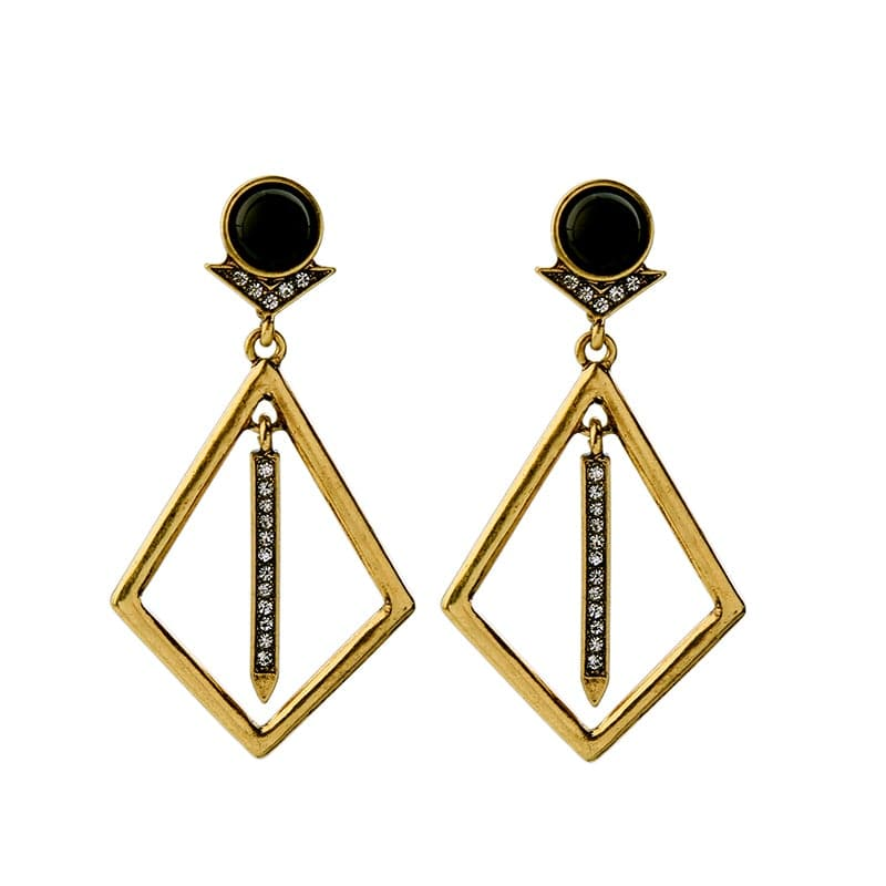 Geometric deco drop earring, Earrings - Kevia Style, LLC