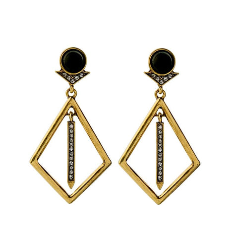Geometric deco drop earring