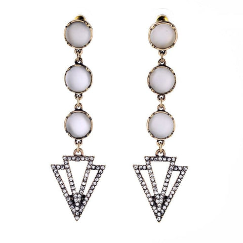 Frosted stone and pave dagger drop earring