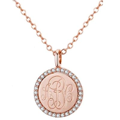 Monogram Gold Coin Disk with CZ
