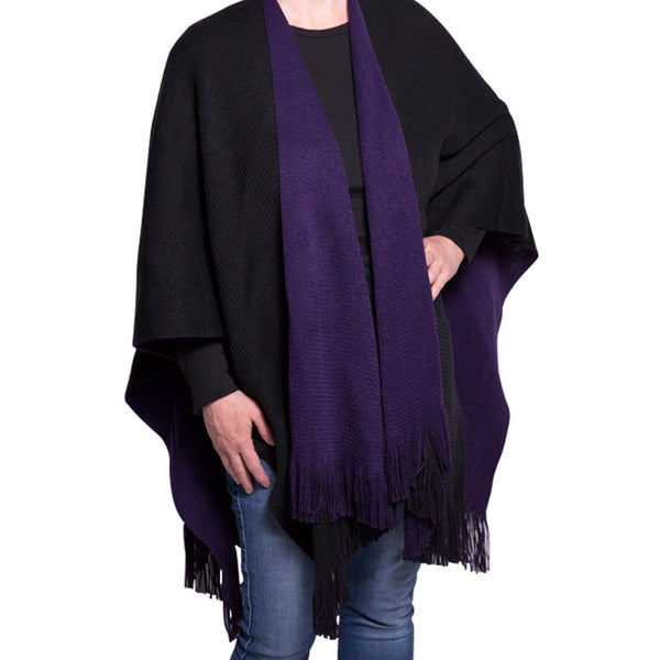 Reversible Double-Sided Fringe Cape, Scarf - Kevia Style, LLC