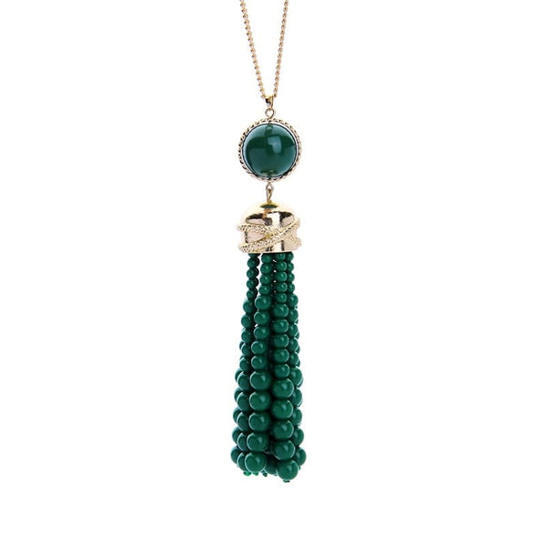 Lizzie Beaded tassel necklace, Necklace - Kevia Style, LLC