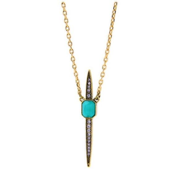 Lizzie Turquoise Dagger Necklace, Necklace - Kevia Style, LLC
