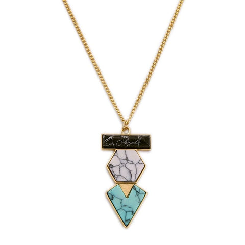 Lizzie Geometric Necklace, Necklace - Kevia Style, LLC