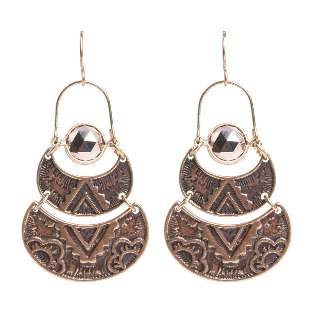 Patina Flora Pyrite Earring, Earring - Kevia Style, LLC