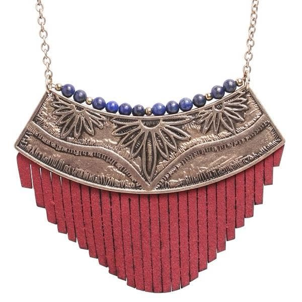 Patina Flora Lapis Necklace, Necklace - Kevia Style, LLC