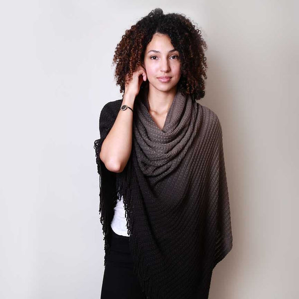 Scarf - Black Charcoal with Fringe
