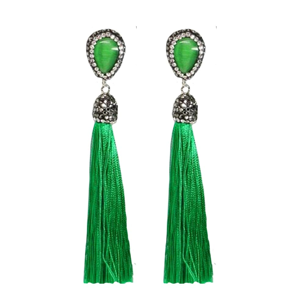 Pave stone and tassel drop earring, Earring - Kevia Style, LLC