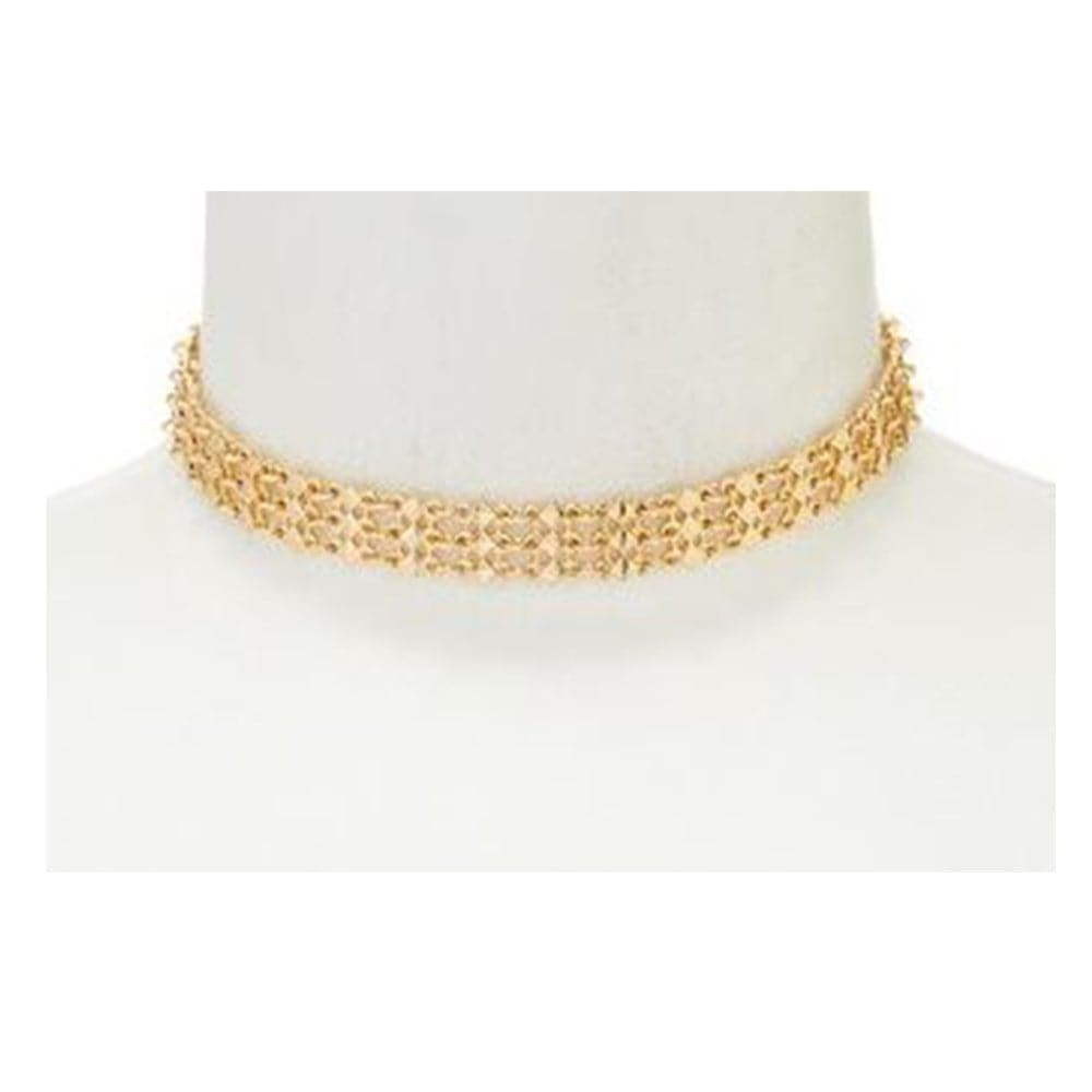 Geometric gold choker, Necklace - Kevia Style, LLC