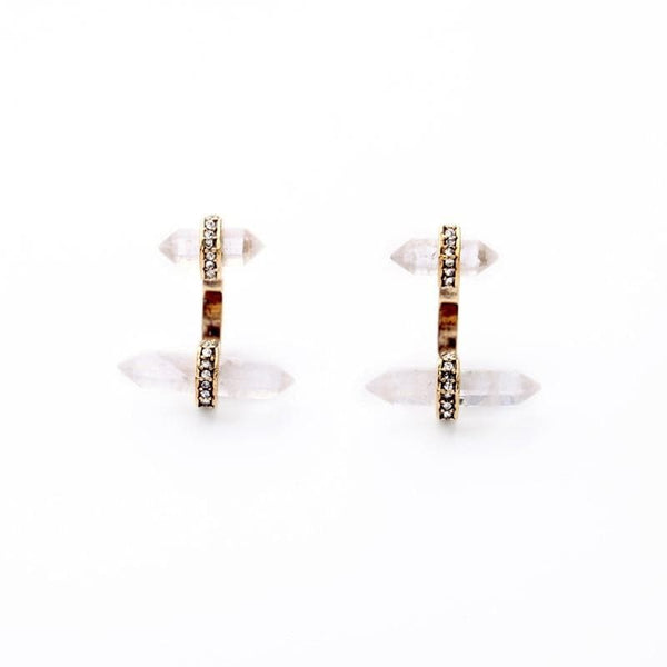 Lizzie Pave Quartz Crystal Jacket Earrings