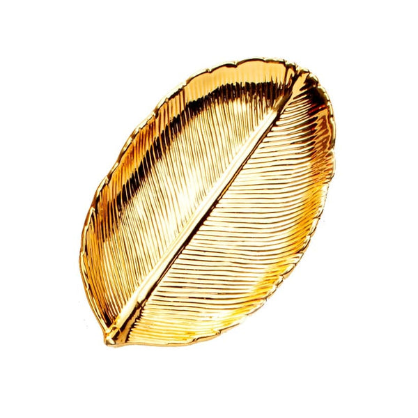 Gold Leaf-Shaped Jewelry Plate