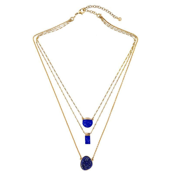 Lizzie Blue Geo Layered Necklace, Necklaces - Kevia Style, LLC