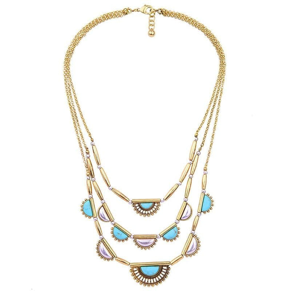 Lizzie Turquoise Layered Necklace, Necklaces - Kevia Style, LLC