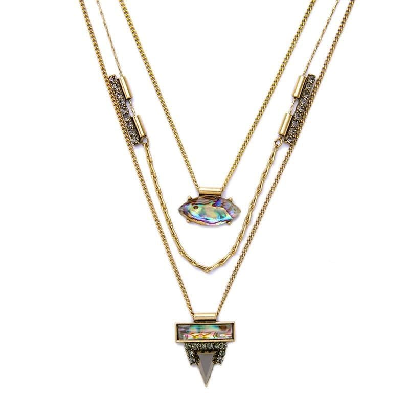 Lizzie Layered Abalone Necklace, Necklaces - Kevia Style, LLC