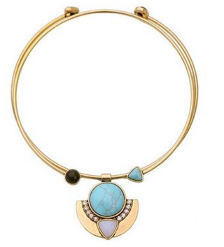 Lizzie Turquoise Metal Collar Necklace, Necklaces - Kevia Style, LLC