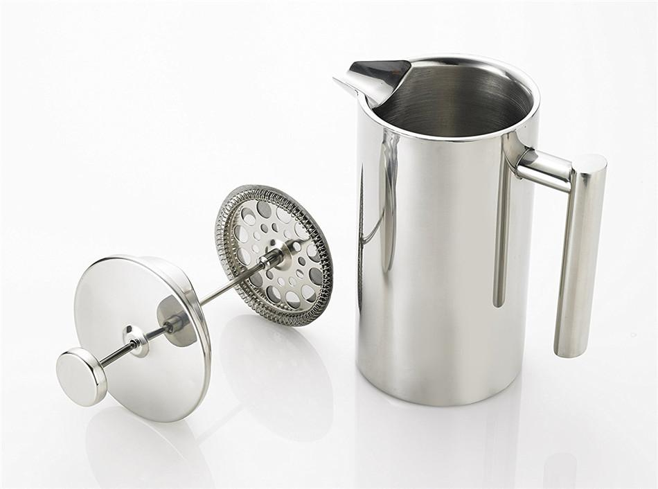 Stainless Steel French Press Coffee Tea Pot with Filter Double Wall