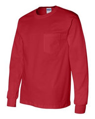 Gildan Ultra Cotton L/S Pocket T-Shirt-Red