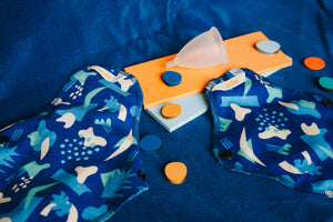 Two reusable pads and a menstrual cup placed on a blue background with various coloured shapes amongst them.