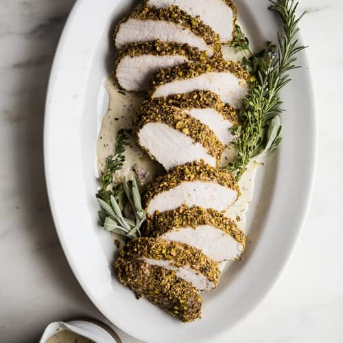 Pistachio Crusted Pork Tenderloin with White Wine Dijon Sauce