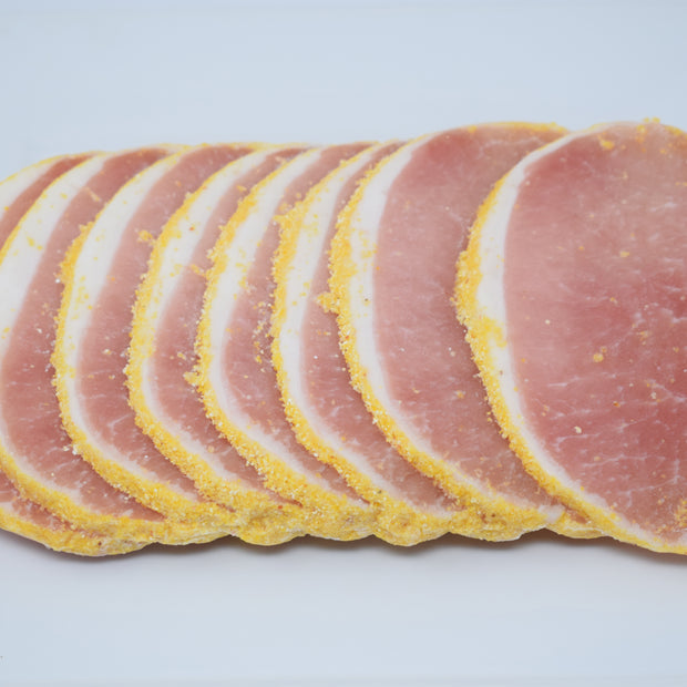 Thick Sliced Butcher Box Peameal Bacon, Canadian Bacon, supporting Ontario Farms