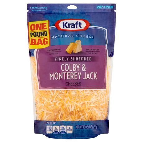 Kraft Natural Cheese Finely Shredded Colby & Monterey Jack Cheeses, 8 oz