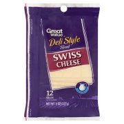 Great Value Deli Style Sliced Swiss Cheese, 12 count, 8 oz