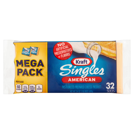 Kraft Singles American Pasteurized Prepared Cheese Product twin Pack, 24 oz, 32 slices