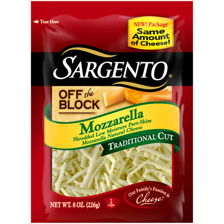 Sargento® Off the Block Mozzarella Traditional Cut Shredded Cheese 8 oz.