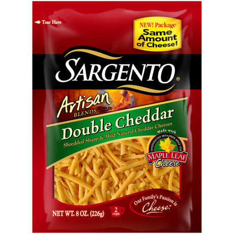 Sargento® Artisan Blends® Double Cheddar Shredded Cheese 8 oz. Stand-
