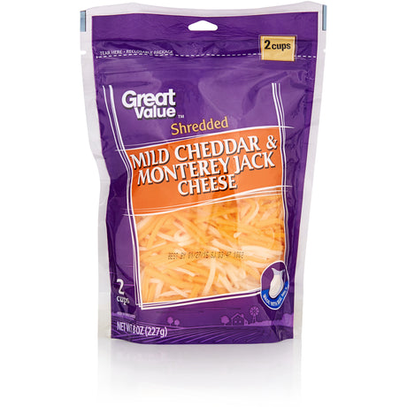 Great Value Mild Cheddar & Monterey Jack Shredded Cheese, 8 oz