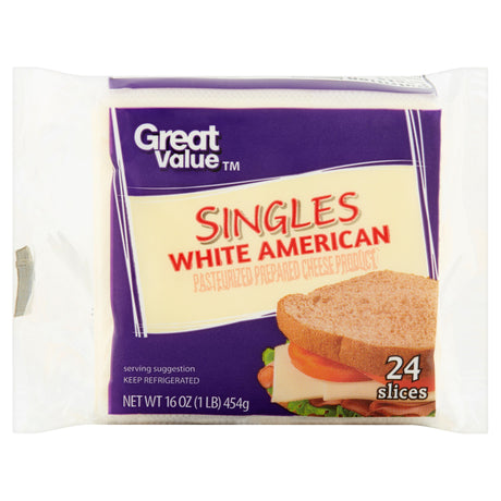 Great Value White American Singles Cheese Slices, 24 count, 16 oz