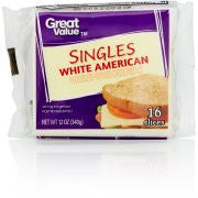 Great Value White American Cheese Product Singles, 12 oz
