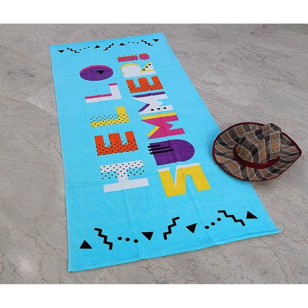 MS 28X60 PRINTED SHEARED BEACH TOWEL HELLO SUMMER