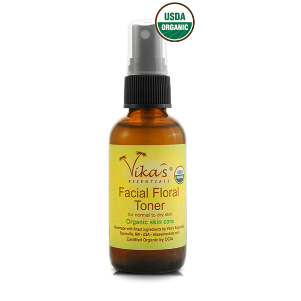 Facial Floral Toner for Normal to Dry Skin - USDA Certified Organic