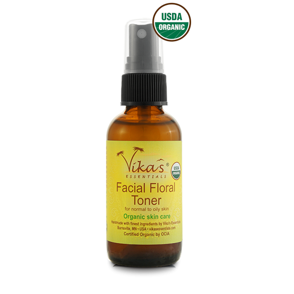 Facial Floral Toner for Normal to Oily Skin. USDA Certified Organic