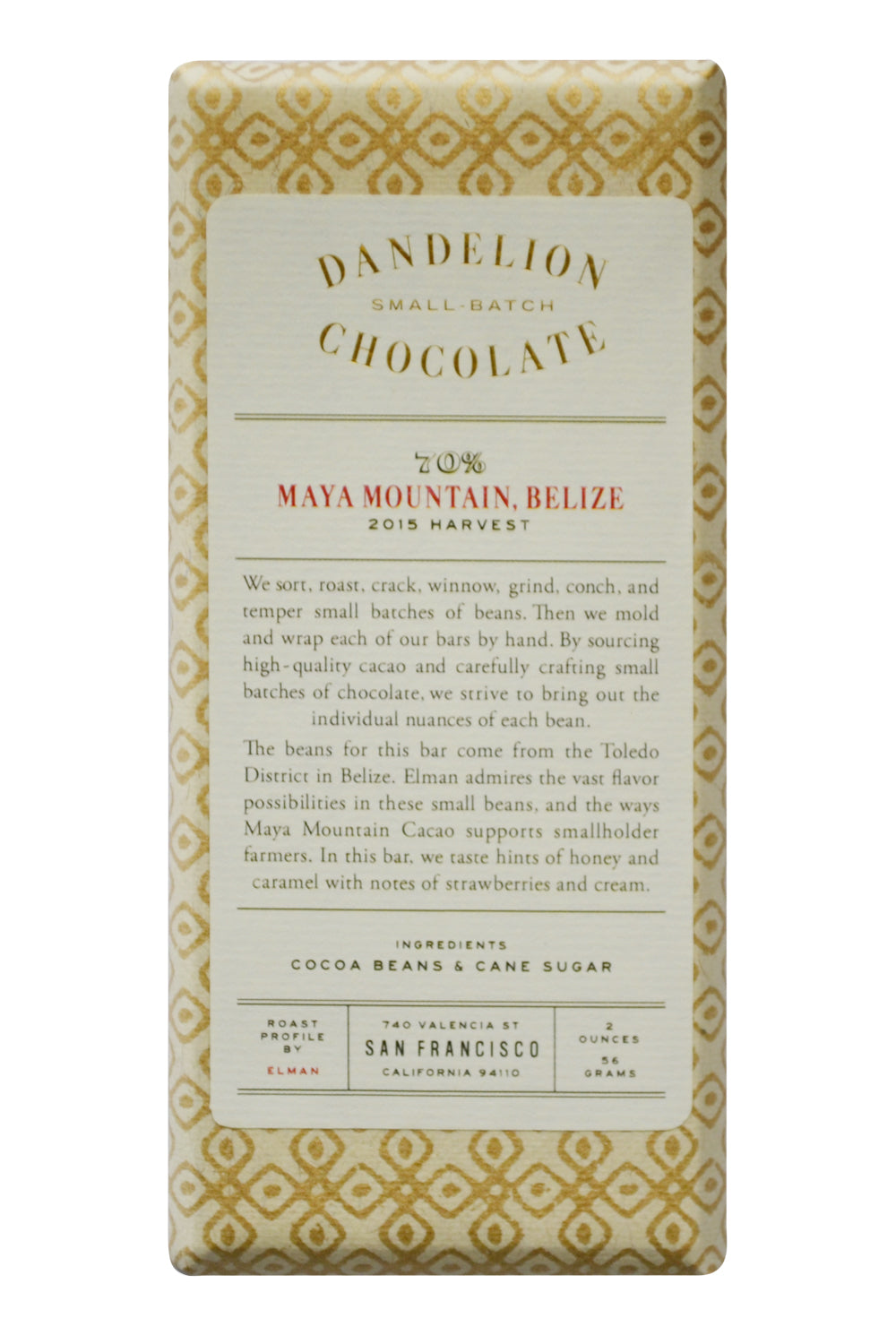 Dandelion Dark Chocolate - Maya Mountain