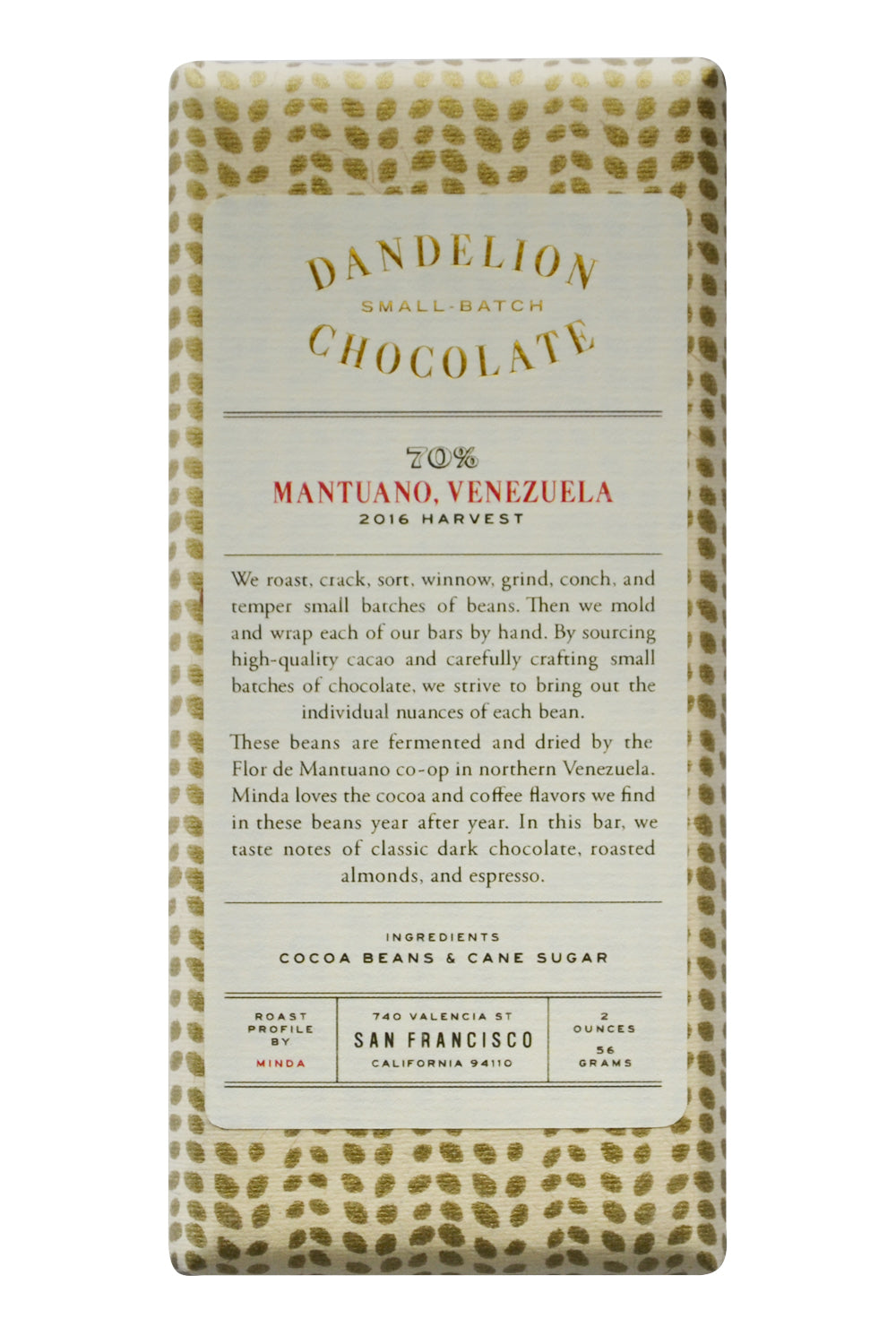 Dandelion Dark Chocolate - Mantuano