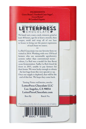 Letterpress Dark Chocolate - Dominican Republic, La Red back