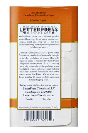 Letterpress Dark Chocolate - Venezuela, Amazonas back