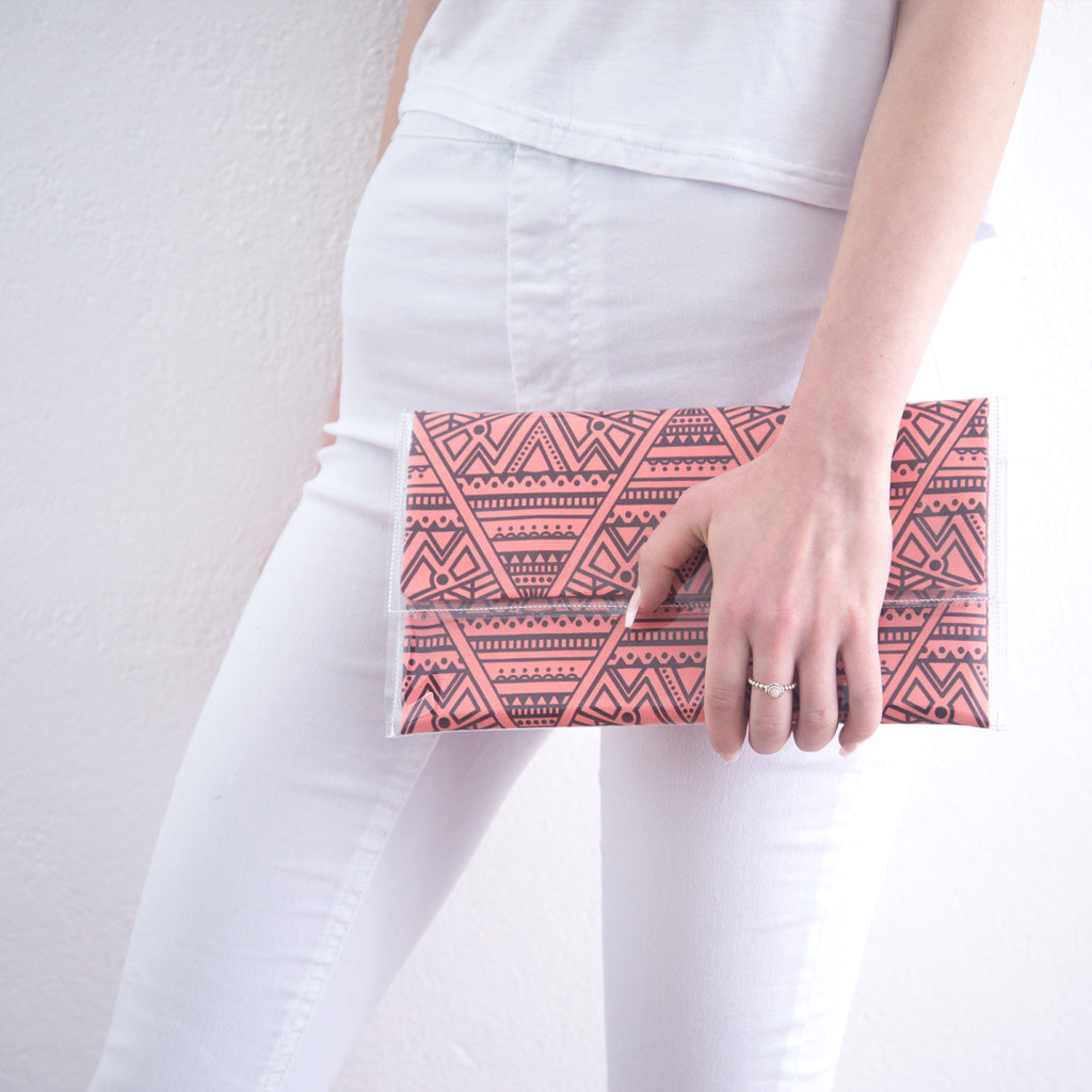 Pink Large Triangle Clutch