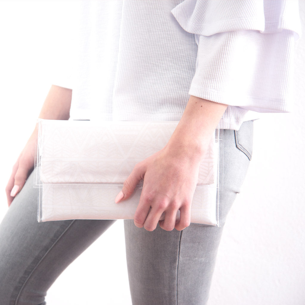 White Large Triangle Clutch